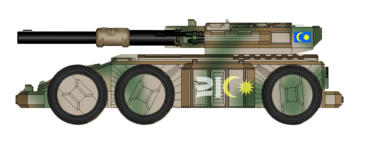 Denel A20 Rhino Gun System is armed with a 9cm railgun, 3cm coaxial autocannon, twin Light Lasers and a heavy support weapon